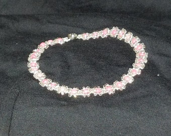 Hand beaded anklet, white with colored center