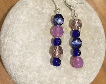 Royal blue & lavender earrings