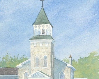 church, watercolour, watercolour print, Hespeler, St Mary's, Catholic, summer, sunny day, giclee print, wall art, decor
