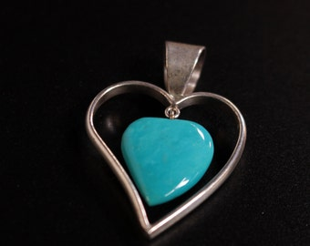 Vintage Heart Shaped Turquoise and Sterling Silver Pendant