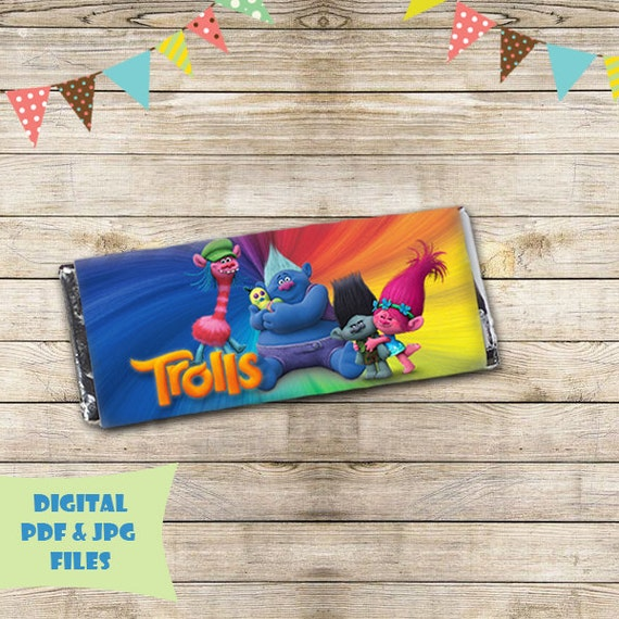Trolls Printable Chocolate Bar Wrappers