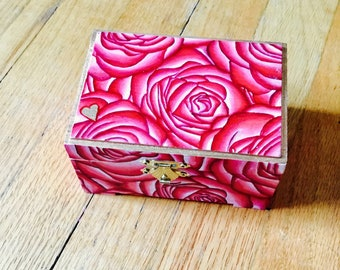 Rose painted jewelry box