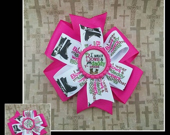 I wear bows & my daddy wears combat boots stacked pinwheel  hair bow hair clip hairbow military
