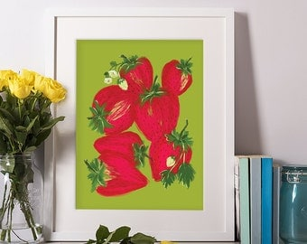 Strawberry, Fruit Digital Print, Fruit Art, Kitchen Art, Kitchen Decor, Wall Art, Gift for Her, Art Prints, Wall Decor, 11x14, 8x10