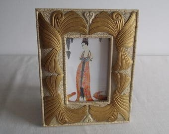 Oriental deco Lady print in swag frame.