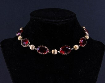 Vintage Gold and Red Choker
