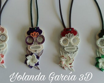 3D hand painted skull necklace