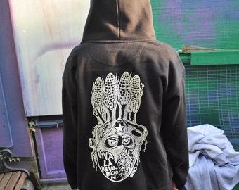 Joefur: RaveAid Hoodie. Black w/ White Print.  (All profits to charity)