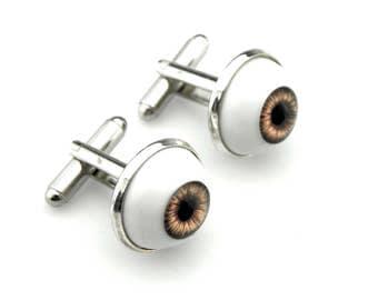 Eyeball Cufflinks - Sci Fi Cuff links - Acrylic Doll Eye Cuff links - Brown Cufflinks - Unique Cufflinks