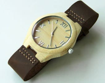 Genuine Leather Bamboo Wood Fashion Watch Wooden Watches For Men