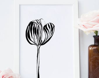 abstract wall art of tulip flower hand drawn in black ink modern art digital print