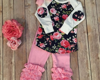 Floral print sweater with elbow patches