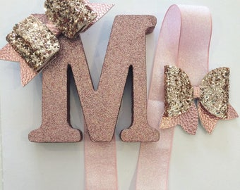 Rose Gold Glitter Personalised Wooden Letter Bow Holder