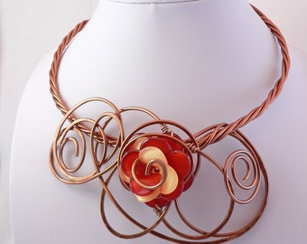 Copper wire statement necklace.Wearable art.Bold,Unique and Funky.All occasion neckwire.