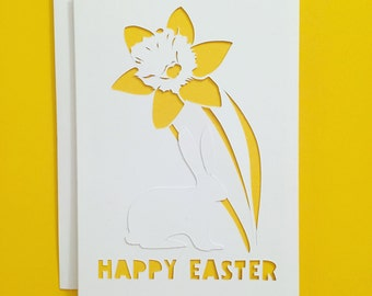 Happy Easter Greeting Card, Happy Easter, Handcut, Papercut, Daffodil, Rabbit, Papercut, Greeting Card, Yellow, Easter