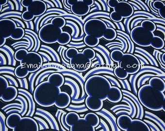 mi707 - 1 Yard Jappanese Cotton Fabric - Cartoon Characters, Japanese Traditional Style Waves Mickey Mouse - Navy Blue (W140)