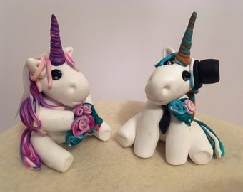Clay Unicorn Bride and Groom Wedding Cake Topper- made to order