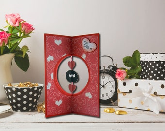 Valentine card with Makurokurosuke, Valentine's Day card, Nadeau of the dark, hearts, romantic gift