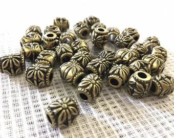 Antique brass barrel beads 25 pieces