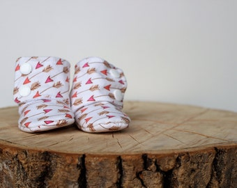 6-12 months - babies - baby - arrows - Rose - Tribal slippers boots