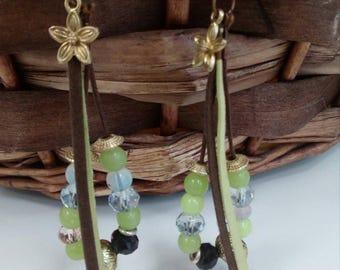 Earrings,green beads,leather strap,flower ornaments