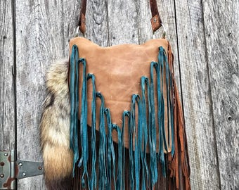 Soft Distressed learher handbag!  Western, fringe, style, boho, turquoise, teal!  Fast shipping?