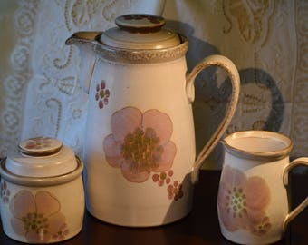 """Denby """"Gypsy"""" Floral Collection; Large Coffee Pot, Creamer, Sugar Bowl"""