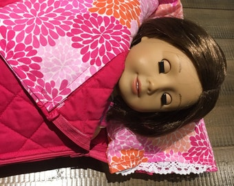 """Sleeping bag and pillow for 18"""" doll, american girl. Fusica. Pink."""