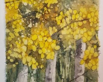 Aspens Mini - Original rice paper batik, watercolor batik, handmade, watercolor painting, mountain, Colorado, landscape