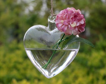 Heart Shaped Glass Hanging Vase Terrarium