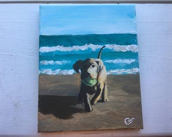 8x10 Yellow Lab Puppy Beach Painting