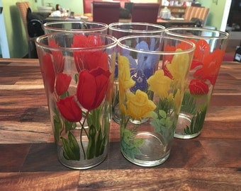Flowery Juice Glasses (Set of 5)