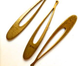 Long Teardrops-Vintage Metal Findings-Jewelry, Crafts Supply- raw brass-1 lot (12 pcs)