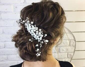 Bridal pearls and leaf crystal hair comb Bridal headpiece Rhinestones winter wedding comb Silver hair piece Emma Watson white pearl comb