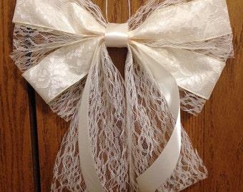 6 Elegant white lace bow, wedding bow, church pew bow, wedding decoration, wreath bow, shower bow, flower girl bow