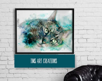 watercolor art print  // pet portrait // gift for pet lover // cat art // aqua art  // canvas // turquoise - Mackerel Tabby Cat Art