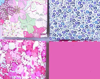 Liberty and Popeline Fuchsia Coupons - assortment of 4 coupons 25cmx31cm