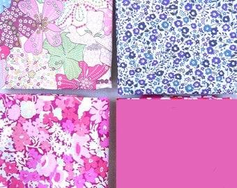 Fabrics: set of 3 Liberty coupons and 1 Fuchsia Poplin 25cmx31cm coupon