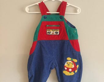 Multicolor Patchwork Infant Boys Corduroy Overalls with Helicopter Decal 6-9 Months