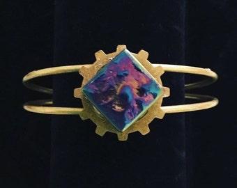 Repurposed Glass Tile Set on Steampunk Style Gear Cuff Bracelet