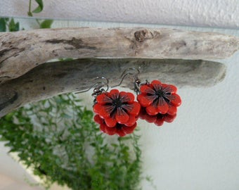 Earrings red poppy, polymer clay, celebrates mothers and marriage.