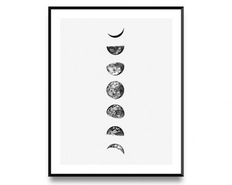 Moon phase print, lunar phases print, moon poster, moon phases, moon phase poster, moon phase wall art, moon print, moon art, printable art