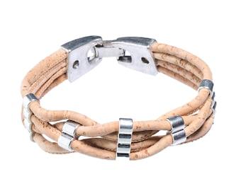 Handmade bracelet of Cork (natural/silver) | Unisex | Vegan | 4 strand from 3 mm Cork tape
