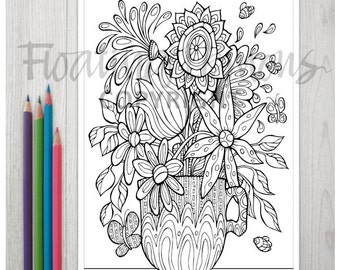 Printable Florals Teacup Colouring Page