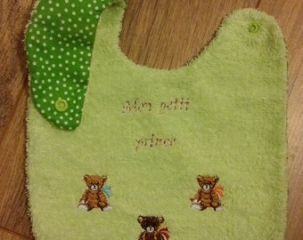 Green bib anise with Teddy embroidered