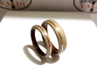 Wooden Wedding  Rings. Ash wood and Ebony wood. With copper inlay