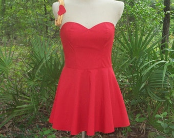 Betty Boop Cosplay Dress - Custom Betty Boop Costume - Betty Boop Red Cosplay Dress with Garter Belt - All Sizes from Petite to Plus Size