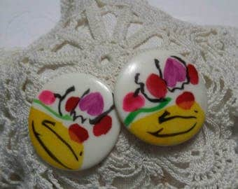 Abstract Art Deco multi colored post vintage earrings