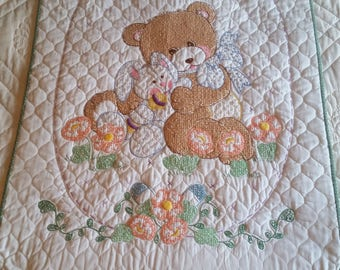 """Teddy Bear and Friend embroidered baby quilt, 40""""x28.5"""""""