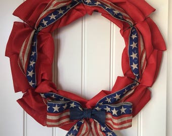 Stars and Stripes - Red Burlap Wreath